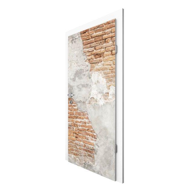 Türtapete - Shabby Backstein Wand