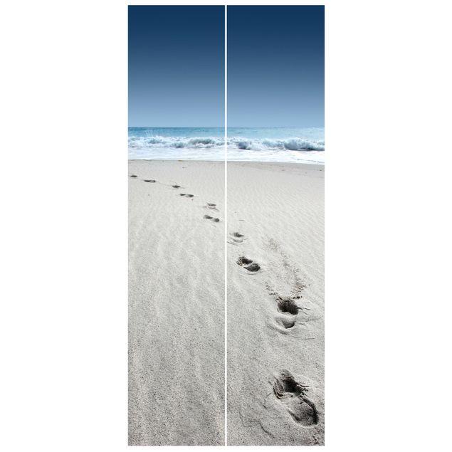 Türtapete - Spuren im Sand