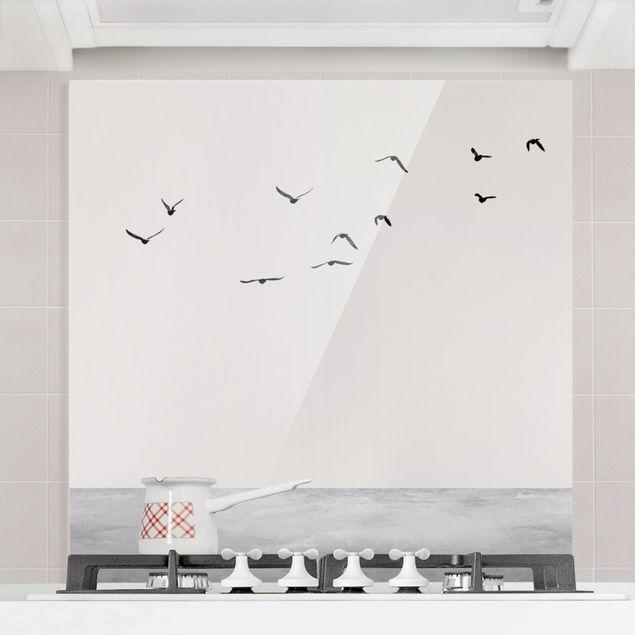 Spritzschutz Glas - Vogelzug in den Süden - Quadrat 1:1