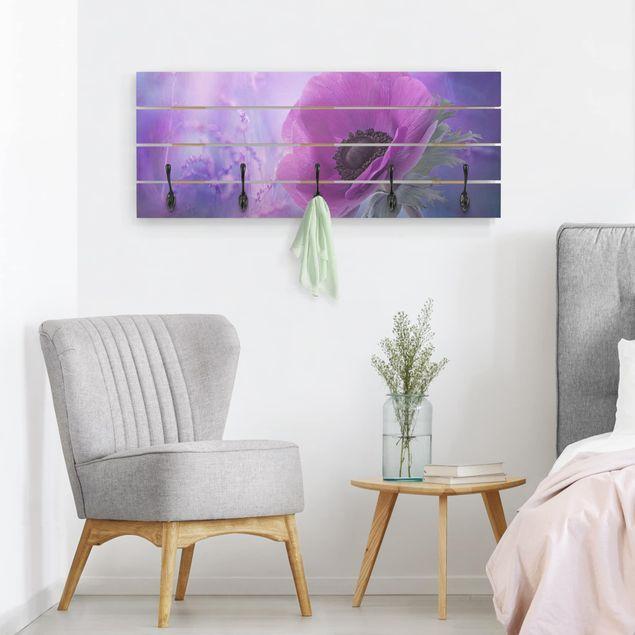 Wandgarderobe Holz - Anemonenblüte in Violett