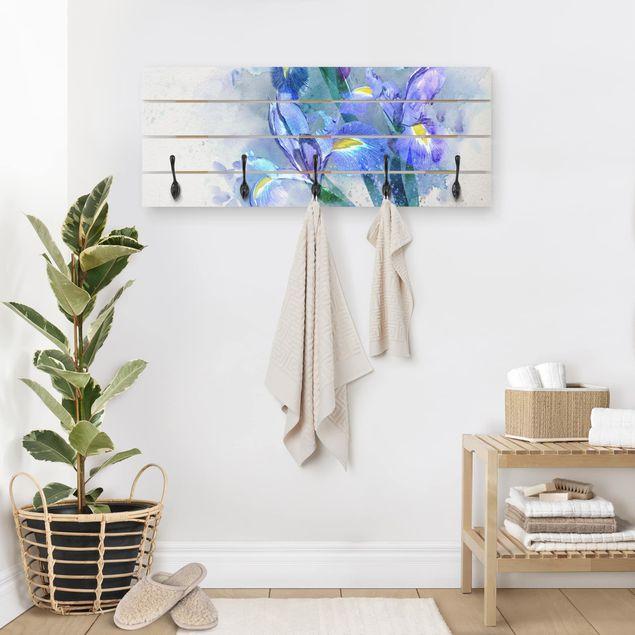 Wandgarderobe Holz - Aquarell Blumen Iris