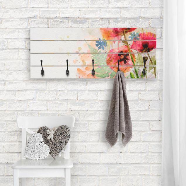 Wandgarderobe Holz - Aquarell Blumen Mohn