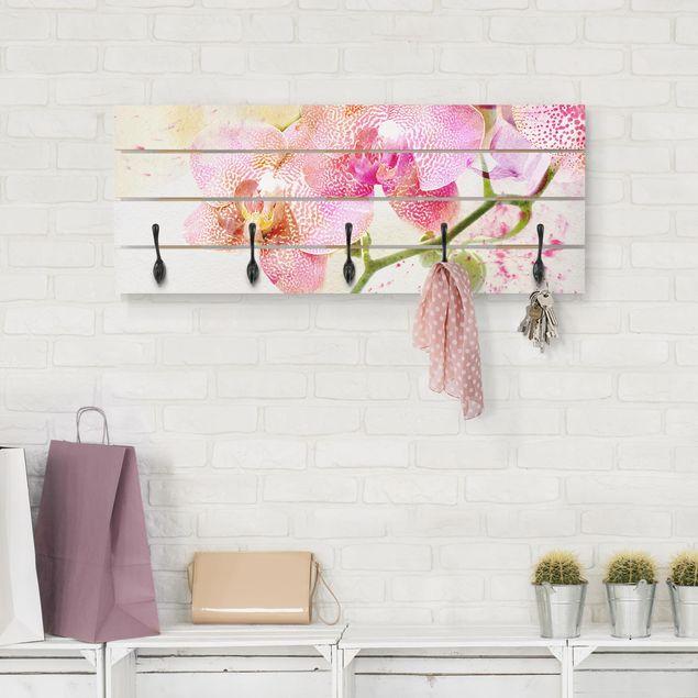 Wandgarderobe Holz - Aquarell Blumen Orchideen