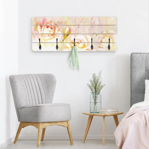 Wandgarderobe Holz - Aquarell Blumen Rosen