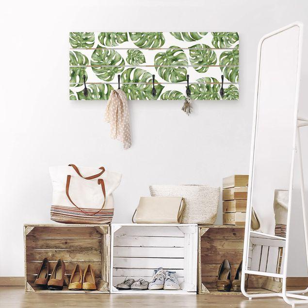Wandgarderobe Holz - Aquarell Monstera Blätter