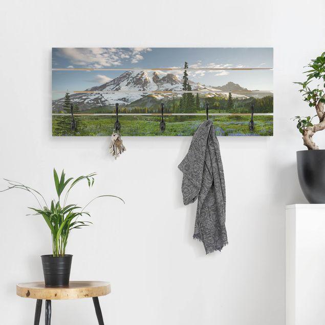 Wandgarderobe Holz - Bergblick Wiesenpfad