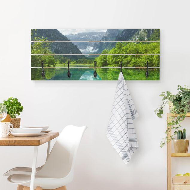 Wandgarderobe Holz - Bergsee mit Spiegelung