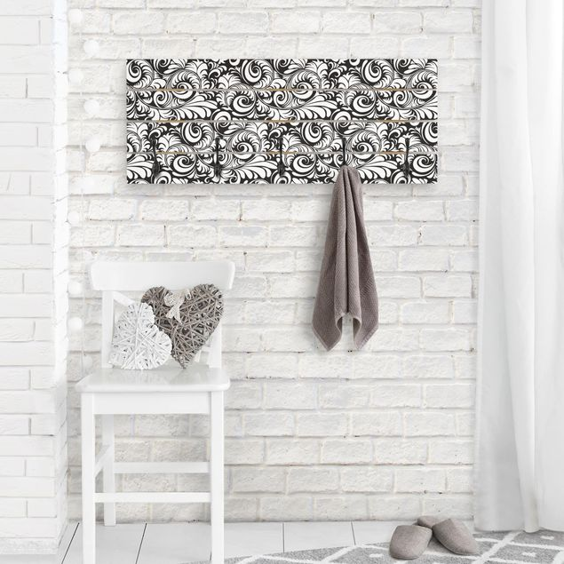 Wandgarderobe Holz - Black and White Leaves Pattern