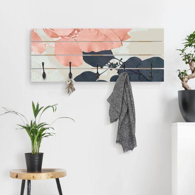 Wandgarderobe Holz - Blätter Indigo & Rouge II