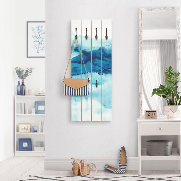 Wandgarderobe Holz - Blaue Strömung I