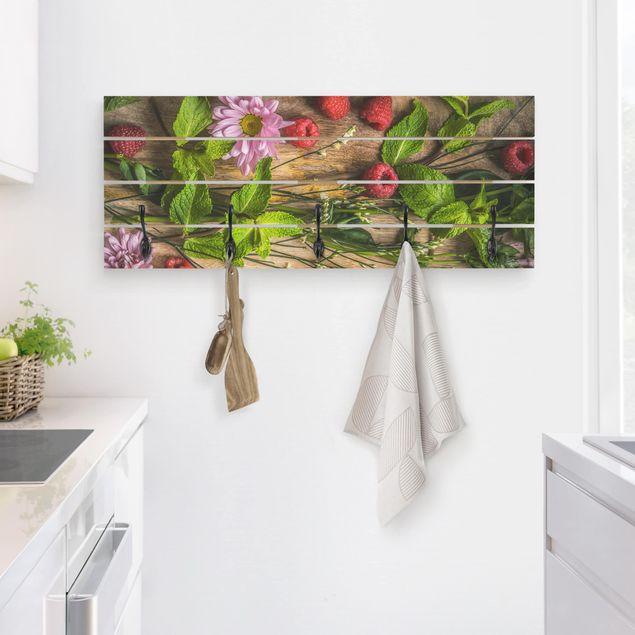 Wandgarderobe Holz - Blumen Himbeeren Minze