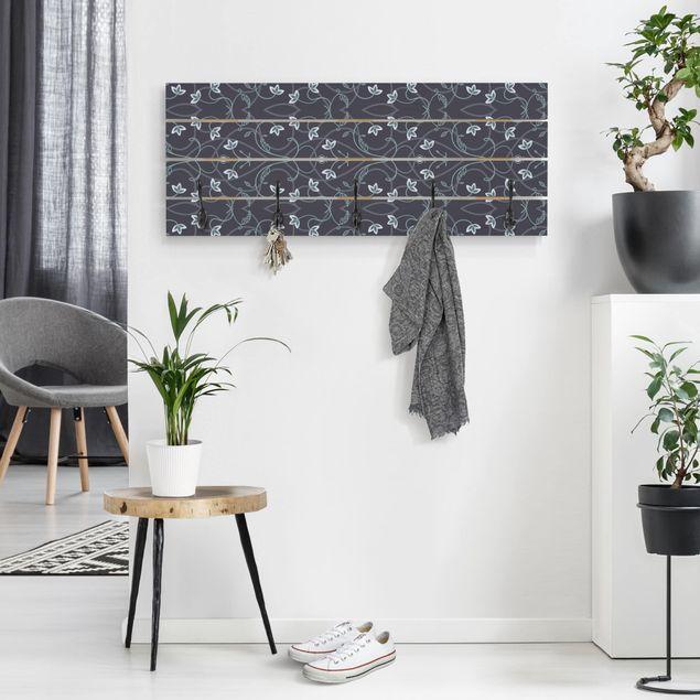 Wandgarderobe Holz - Blumen Ornament Fantasie