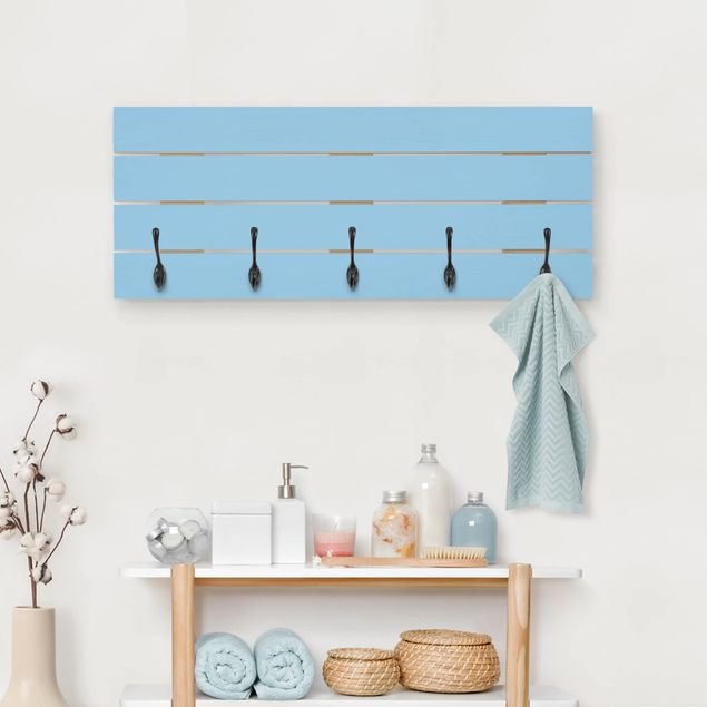 Wandgarderobe Holz - Colour Light Blue