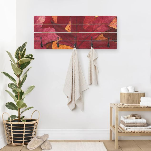 Wandgarderobe Holz - Coloured Leaves