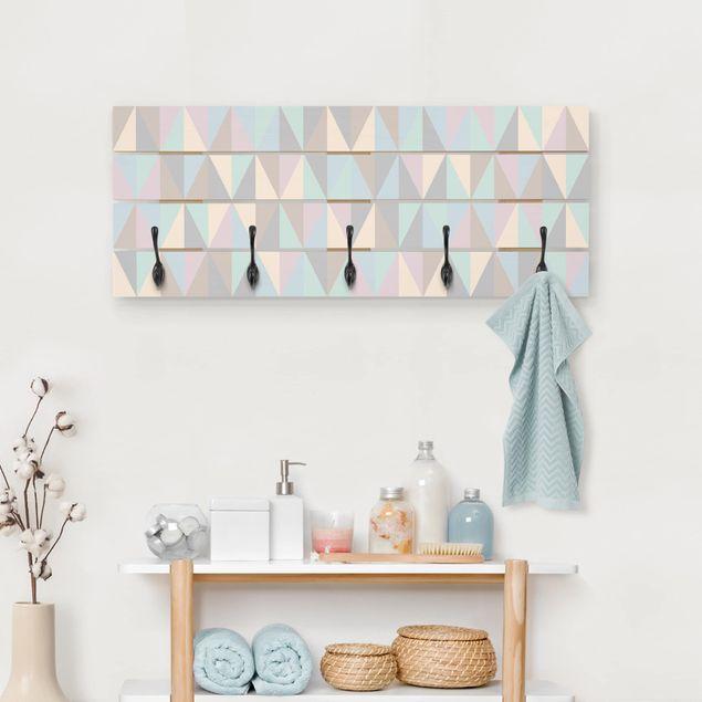 Wandgarderobe Holz - Dreiecke in Pastellfarben
