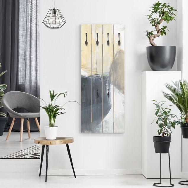 Wandgarderobe Holz - Dreiklang mit Tigerauge I