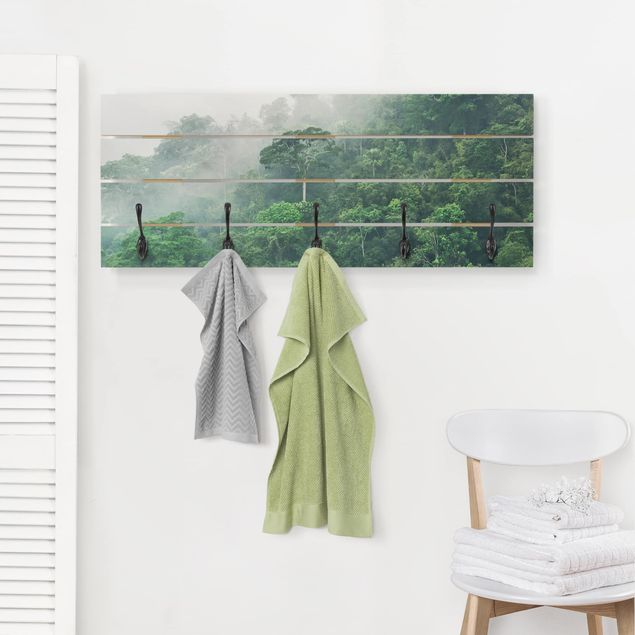 Wandgarderobe Holz - Dschungel im Nebel