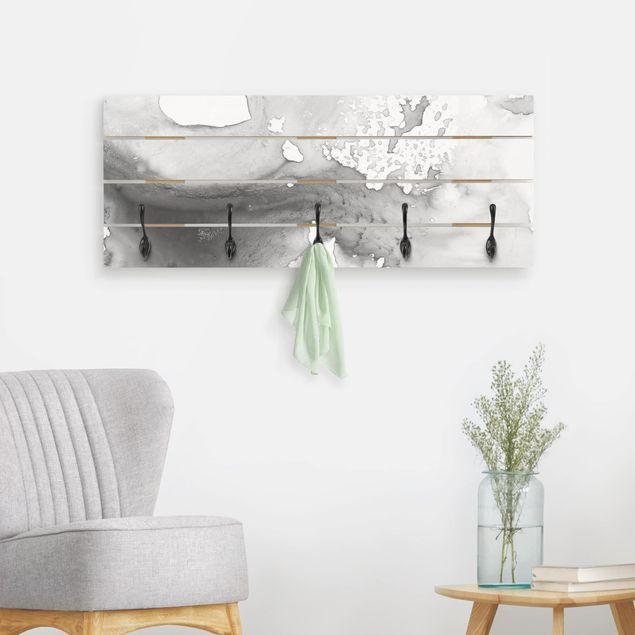 Wandgarderobe Holz - Dunst und Wasser II