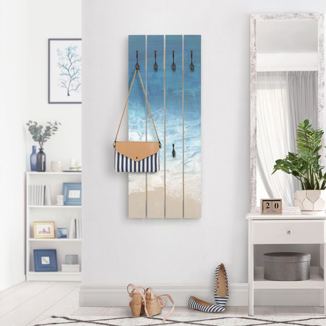 Wandgarderobe Holz - Ebbe und Flut in Farbe I