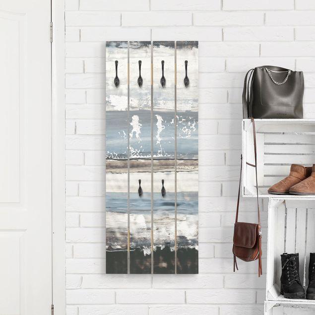 Wandgarderobe Holz - Eisiger Horizont I