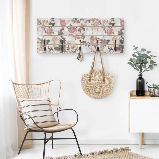 Wandgarderobe Holz - Englische Rosen