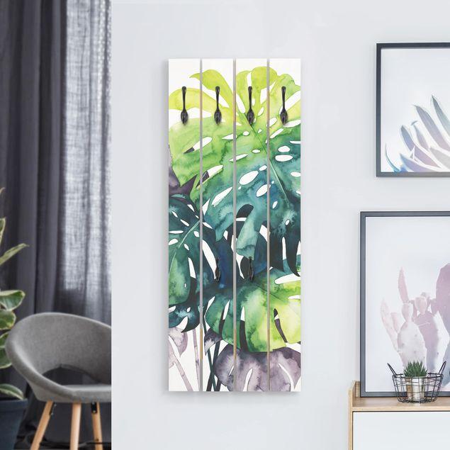 Wandgarderobe Holz - Exotisches Blattwerk - Monstera