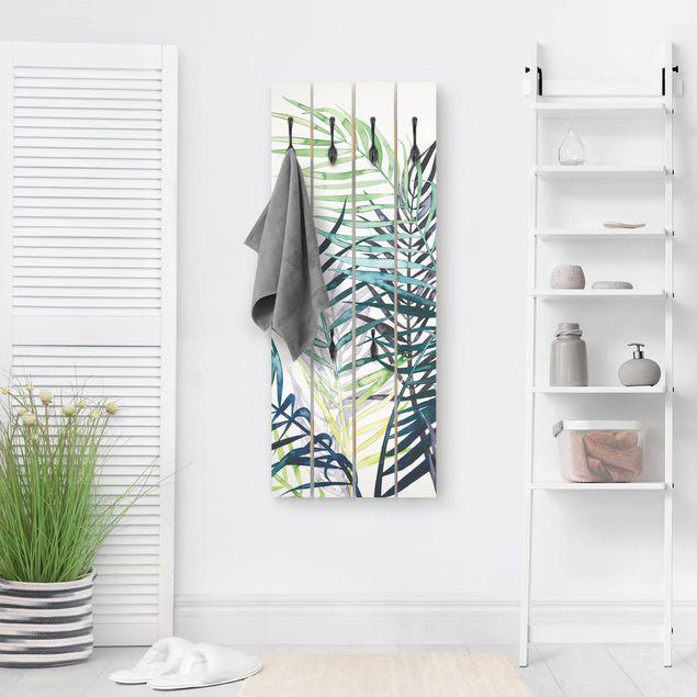 Wandgarderobe Holz - Exotisches Blattwerk - Palme