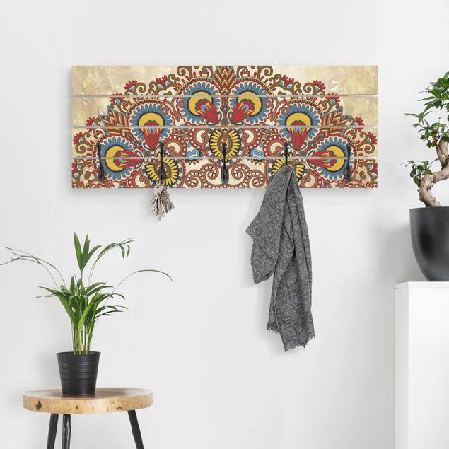 Wandgarderobe Holz - Farbiges Mandala