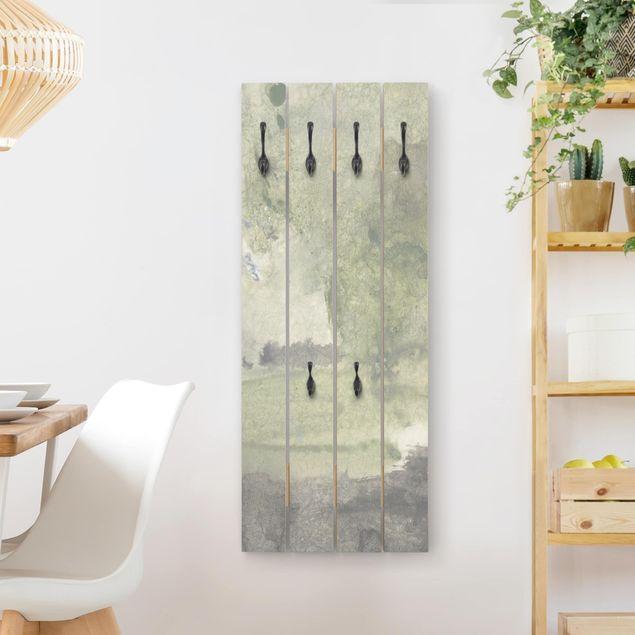 Wandgarderobe Holz - Frieden, Liebe, Freude II
