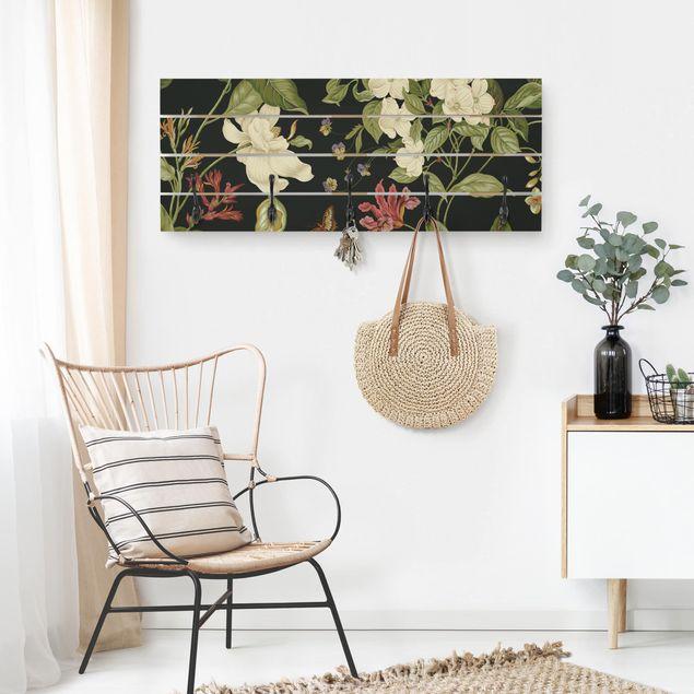Wandgarderobe Holz - Gartenblumen auf Schwarz II