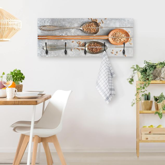Wandgarderobe Holz - Getreidekörner Löffel