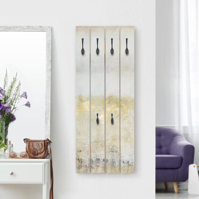 Wandgarderobe Holz - Goldene Farbfelder I