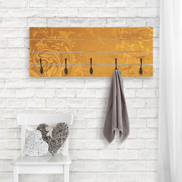 Wandgarderobe Holz - Goldene Flora