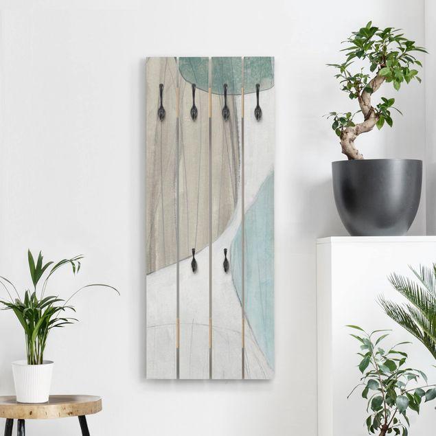 Wandgarderobe Holz - Jadesteine III