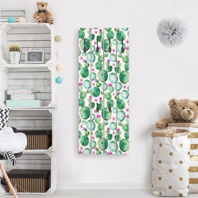 Wandgarderobe Holz - Kaktus mit Blüten Aquarell