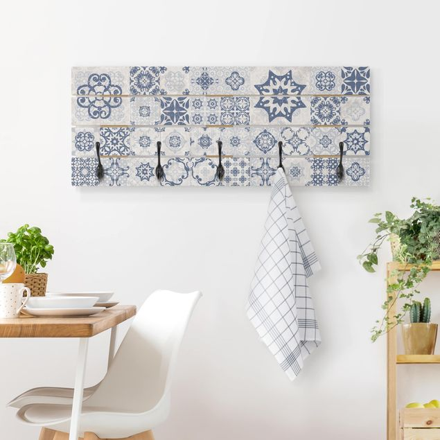 Wandgarderobe Holz - Keramikfliesen Agadir blau
