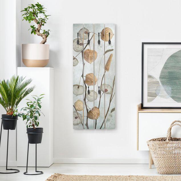 Wandgarderobe Holz - Lampionfrüchte im Herbst