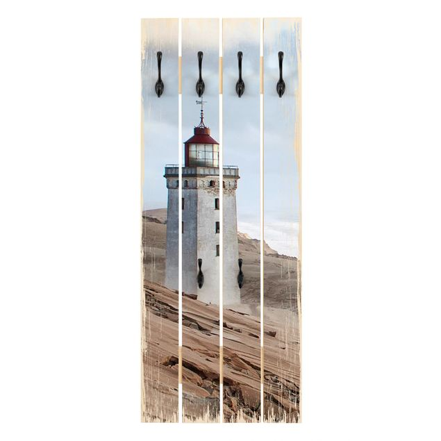 Wandgarderobe Holz - Leuchtturm in Dänemark