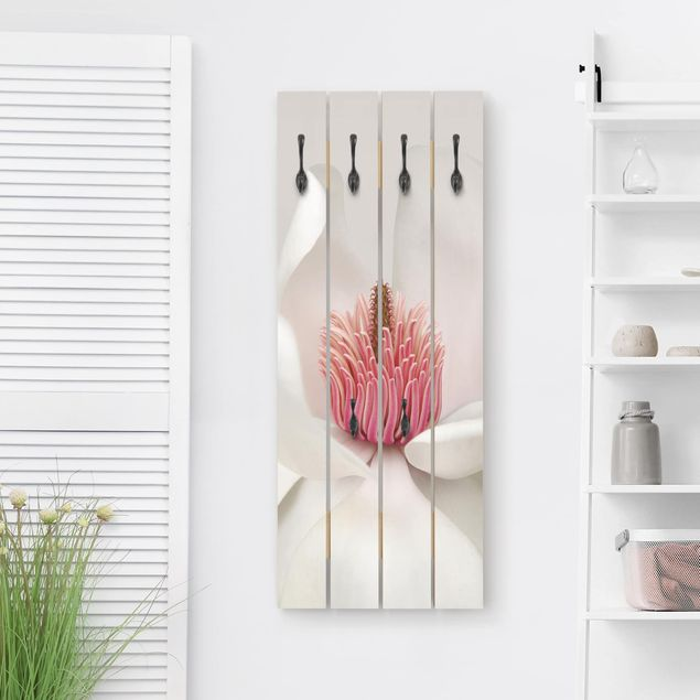 Wandgarderobe Holz - Magnolie in Pink