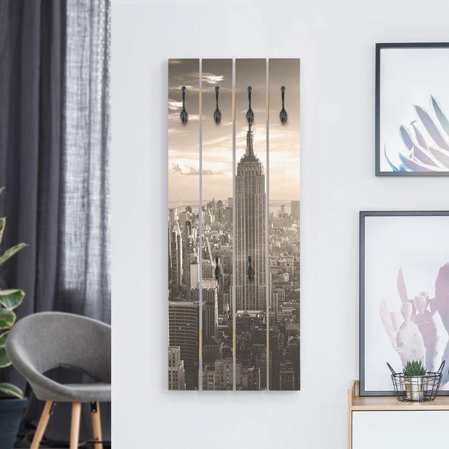 Wandgarderobe Holz - Manhattan Skyline