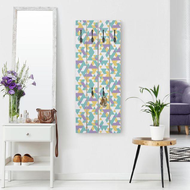 Wandgarderobe Holz - No.RY33 Lilac Triangles