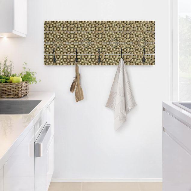 Wandgarderobe Holz - Orientalisches Muster mit goldenen Sternen