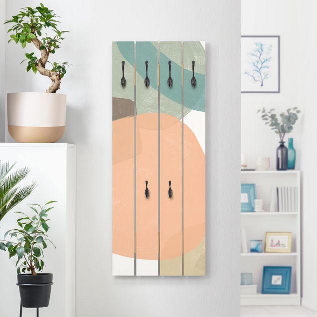 Wandgarderobe Holz - Pailletten im Detail II