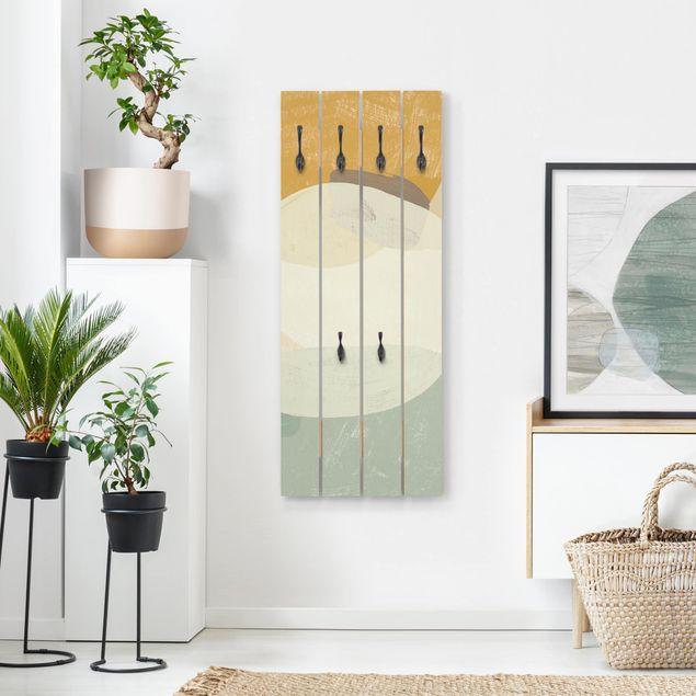 Wandgarderobe Holz - Pailletten im Detail III
