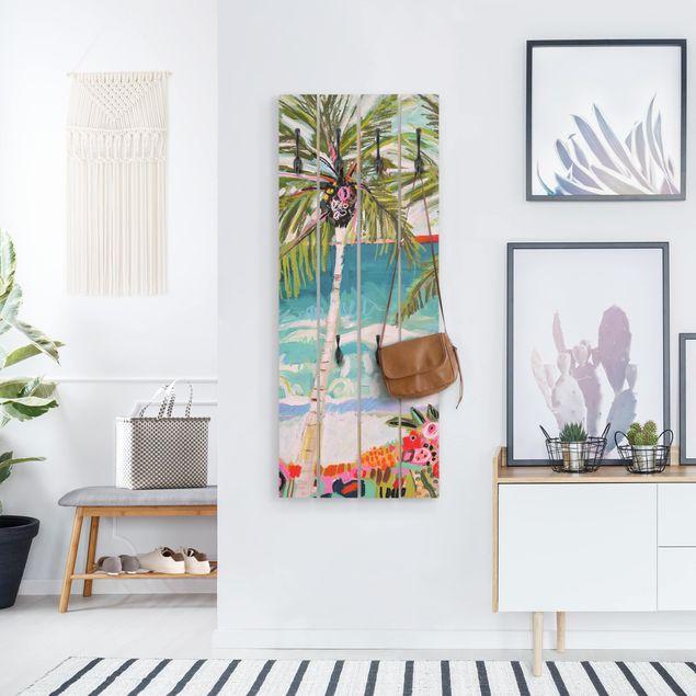 Wandgarderobe Holz - Palme mit pinken Blumen I