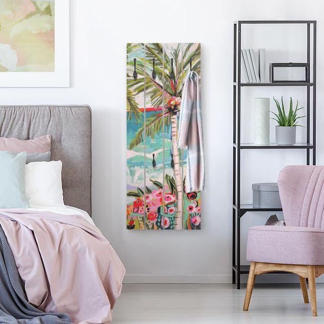 Wandgarderobe Holz - Palme mit pinken Blumen II