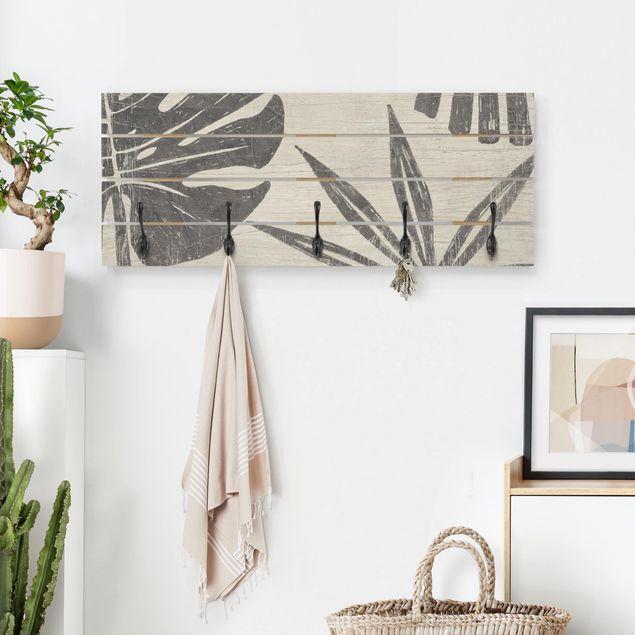 Wandgarderobe Holz - Palmenblätter vor Hellgrau