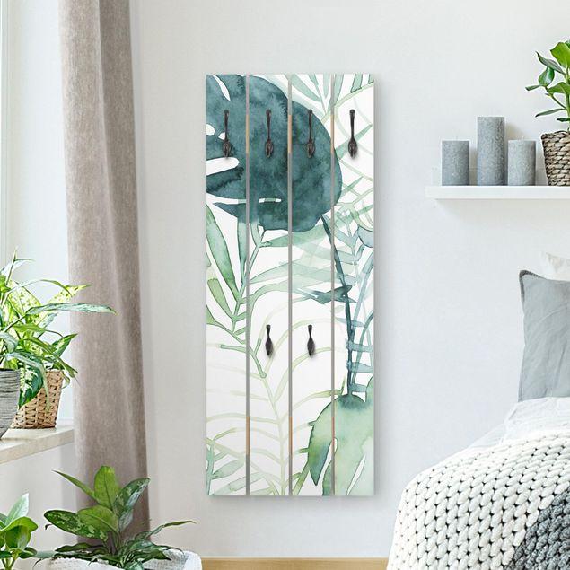 Wandgarderobe Holz - Palmwedel in Wasserfarbe II