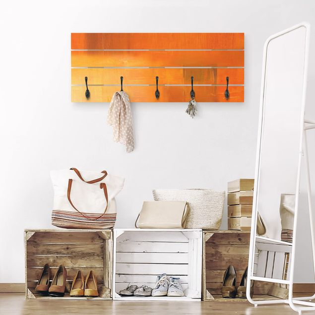 Wandgarderobe Holz - Petra Schüßler - Komposition in Orange und Braun 03