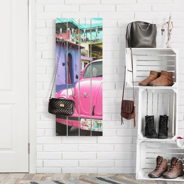 Wandgarderobe Holz - Pink VW Beetle